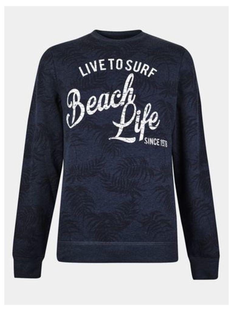 Mens Threadbare Navy Marl Beach Life Sweatshirt*, NAVY