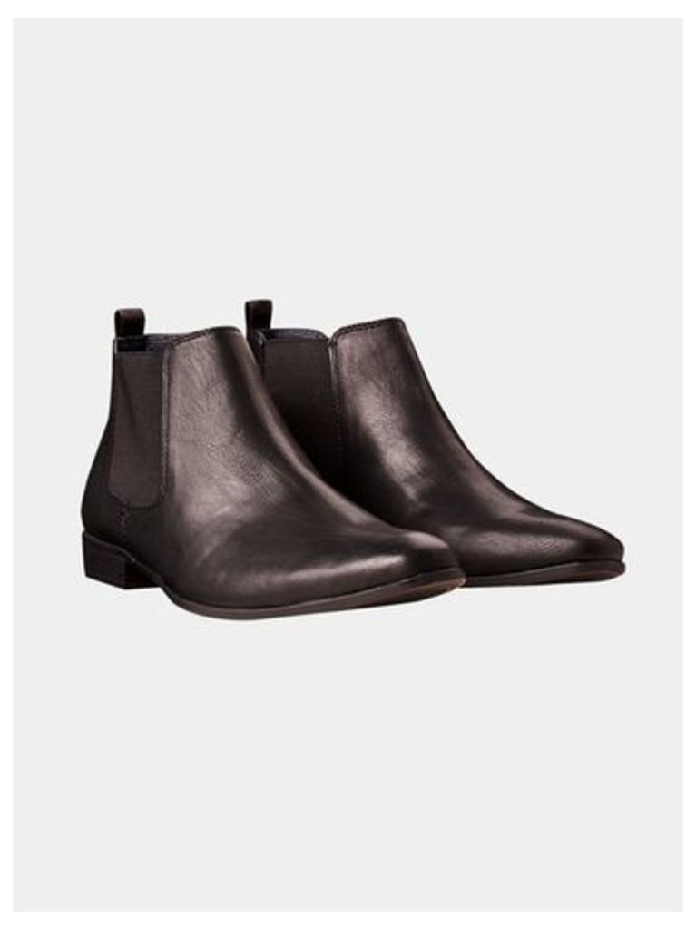 Mens Black Leather Look Chelsea Boots, Black