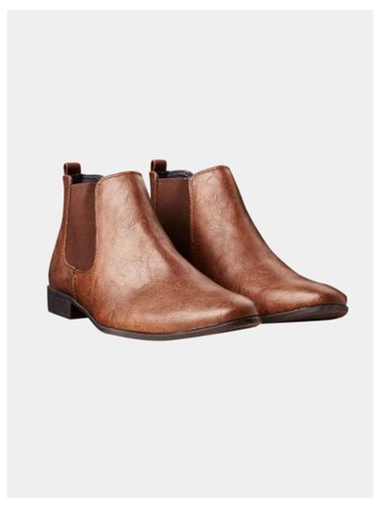 Mens Brown Leather Look Chelsea Boots, Brown