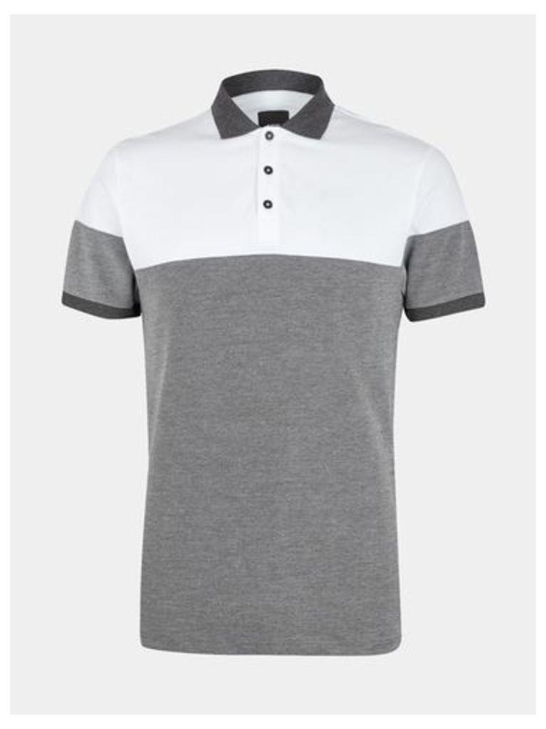 Mens White Panel Cut and Sew Polo Shirt, White