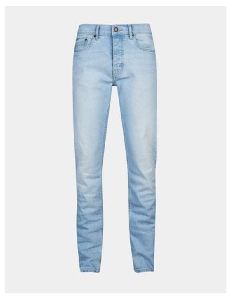 Mens Blue Skinny Fit Powder Bleach Jeans, Blue