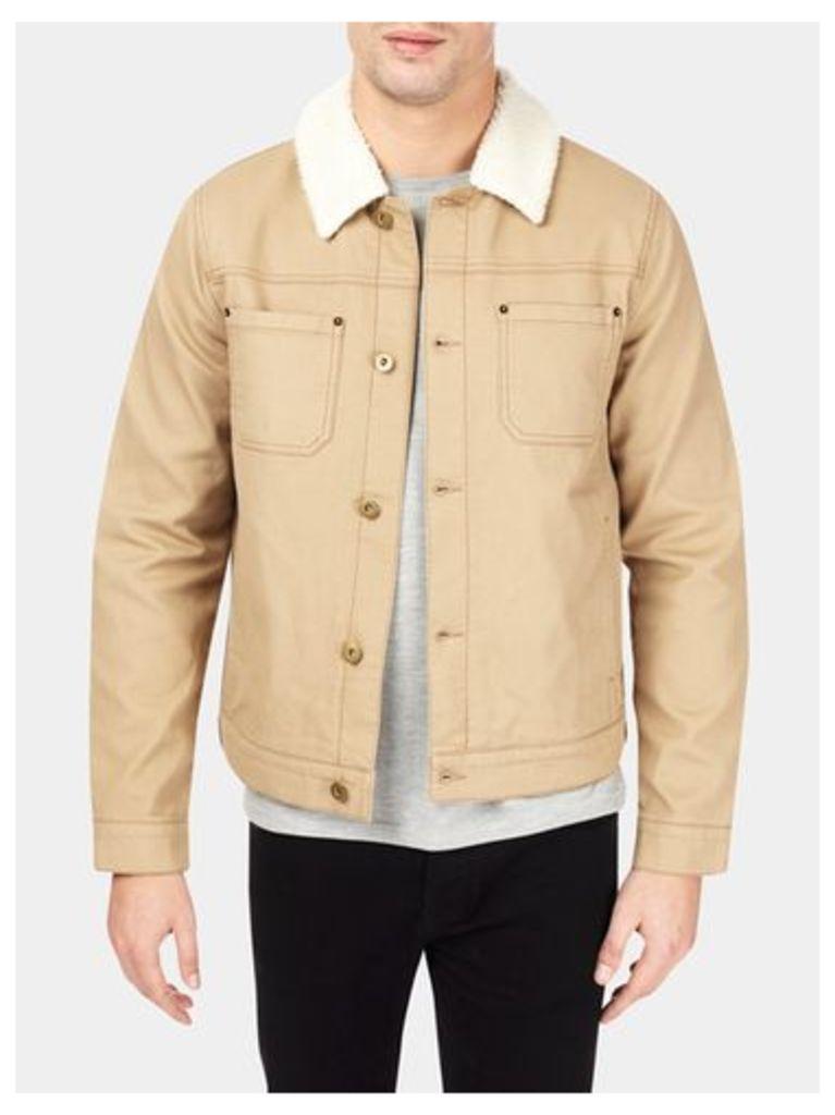 Mens Stone Cord Borg Collar Jacket, Cream