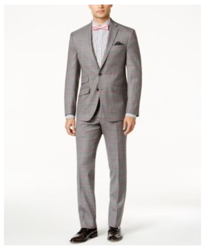 Tallia Men's Slim-Fit Gray and Pink Windowpane Suit