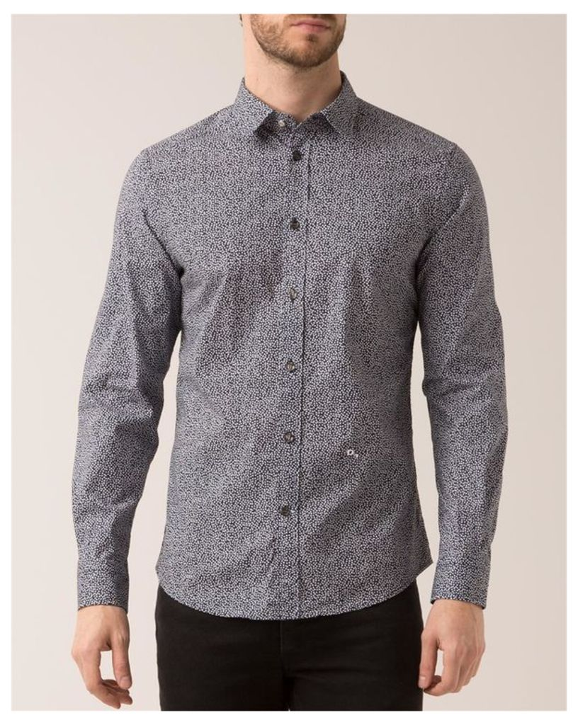 Navy Blue Micro-Pattern Shirt