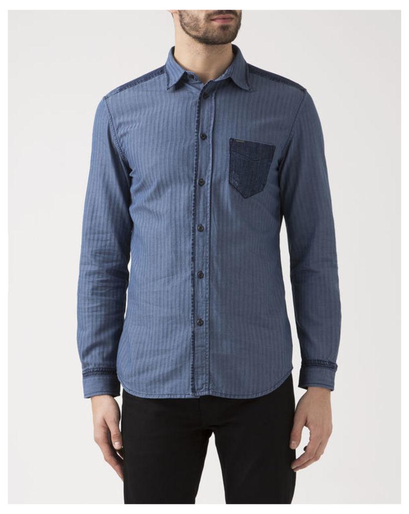 Denim Pocket Blue Micro-Chevron Jerry Shirt
