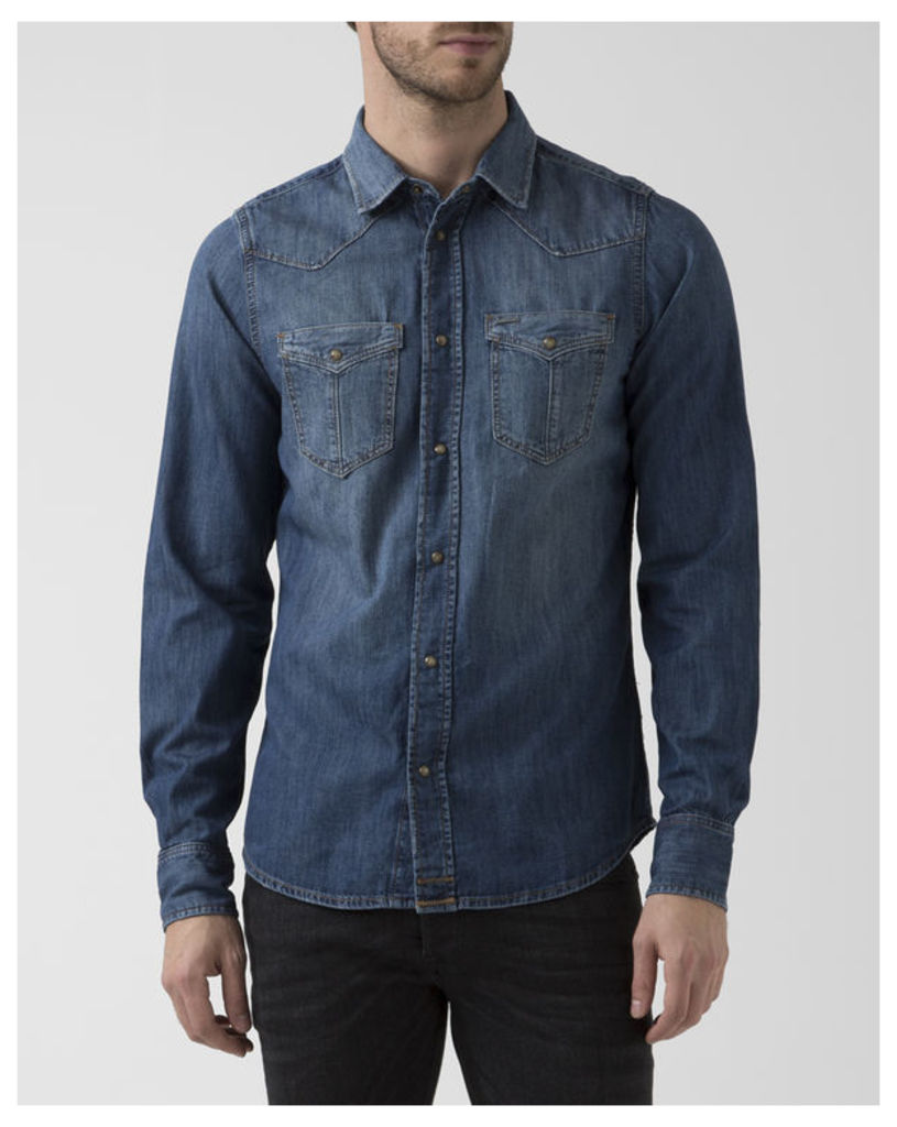 Faded Blue Denim Broome Shirt With Front Pockets