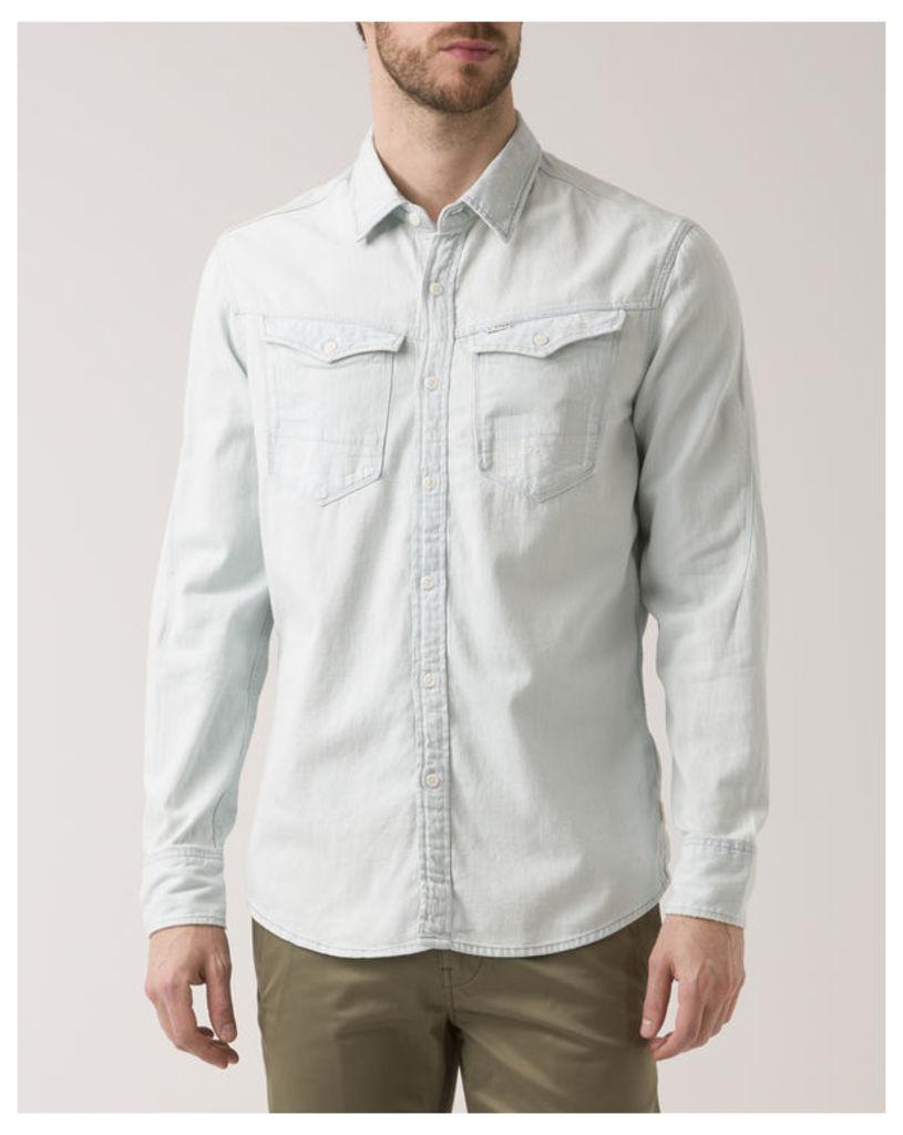 Bleached Sky Blue Slimfit Arc 3D Shirt