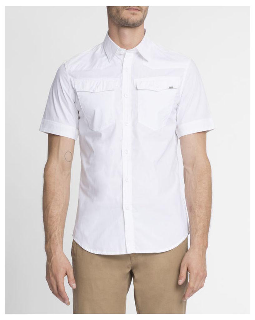 White Slimfit 3301 MC Shirt with Western Pockets