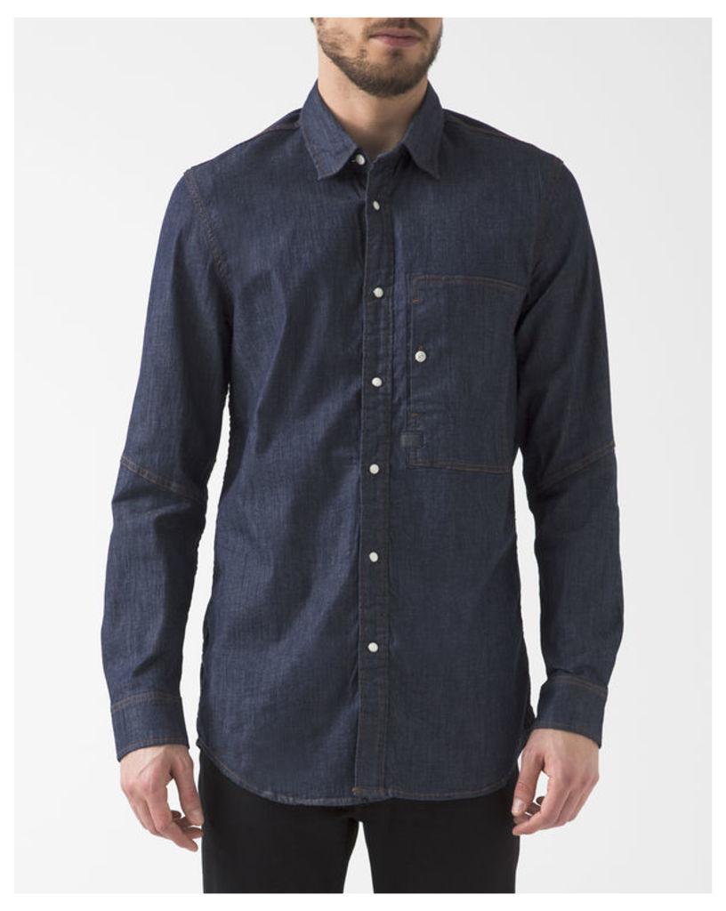 Stalt Blue Raw Denim Shirt with pockets