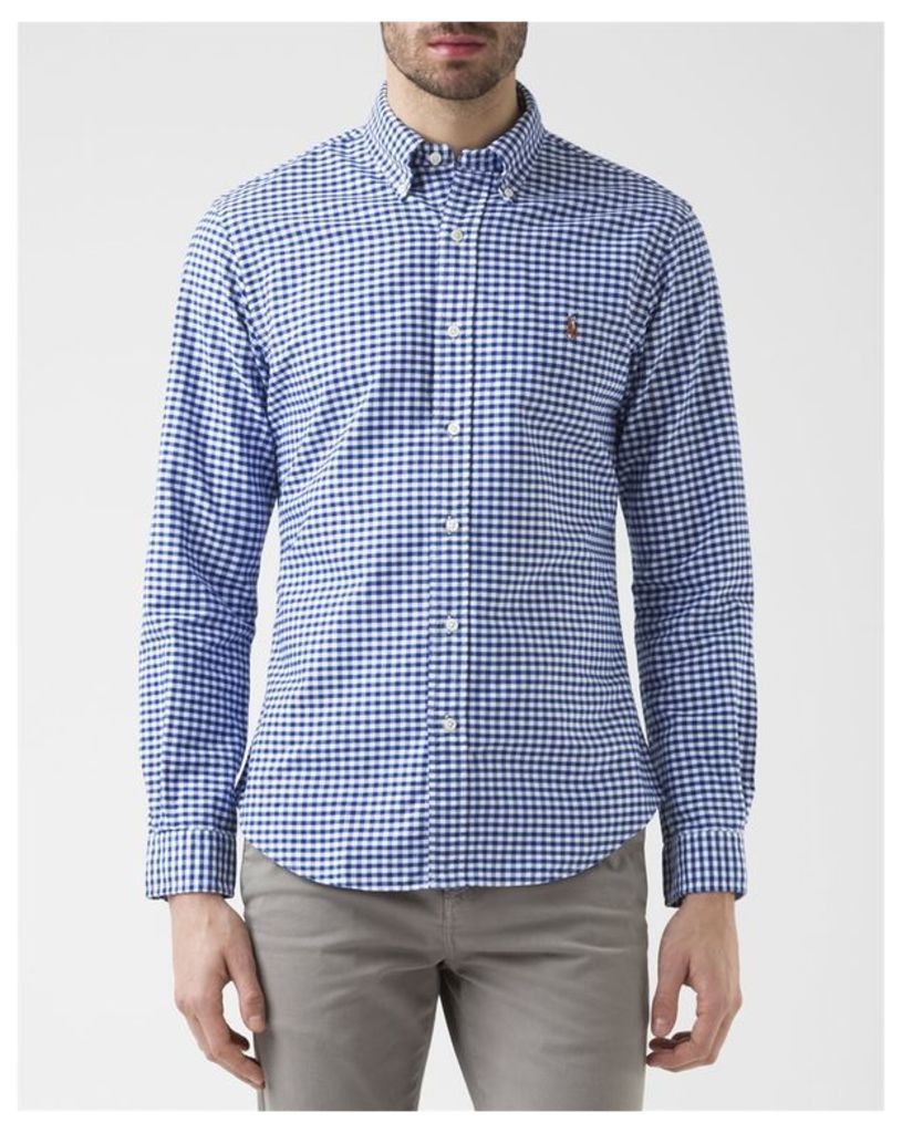 Blue and White Slim Fit Gingham Oxford Shirt