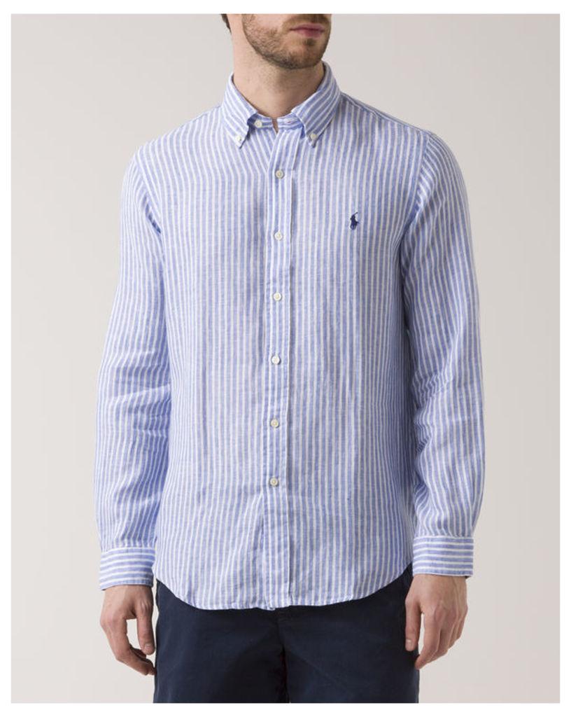 Blue Striped Custom Fit Linen Shirt