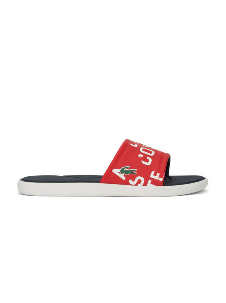 White and Red Print L30 Sandals