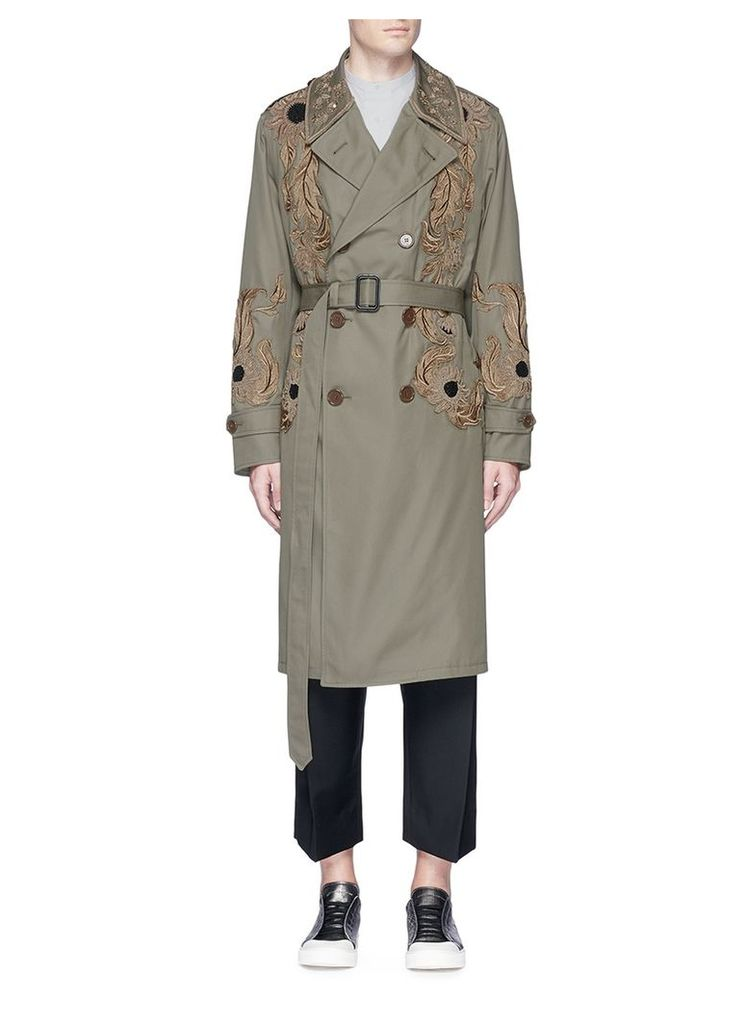 Sunflower embroidered cotton trench coat