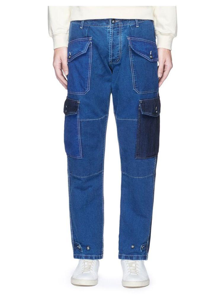 Washed patchwork denim pants