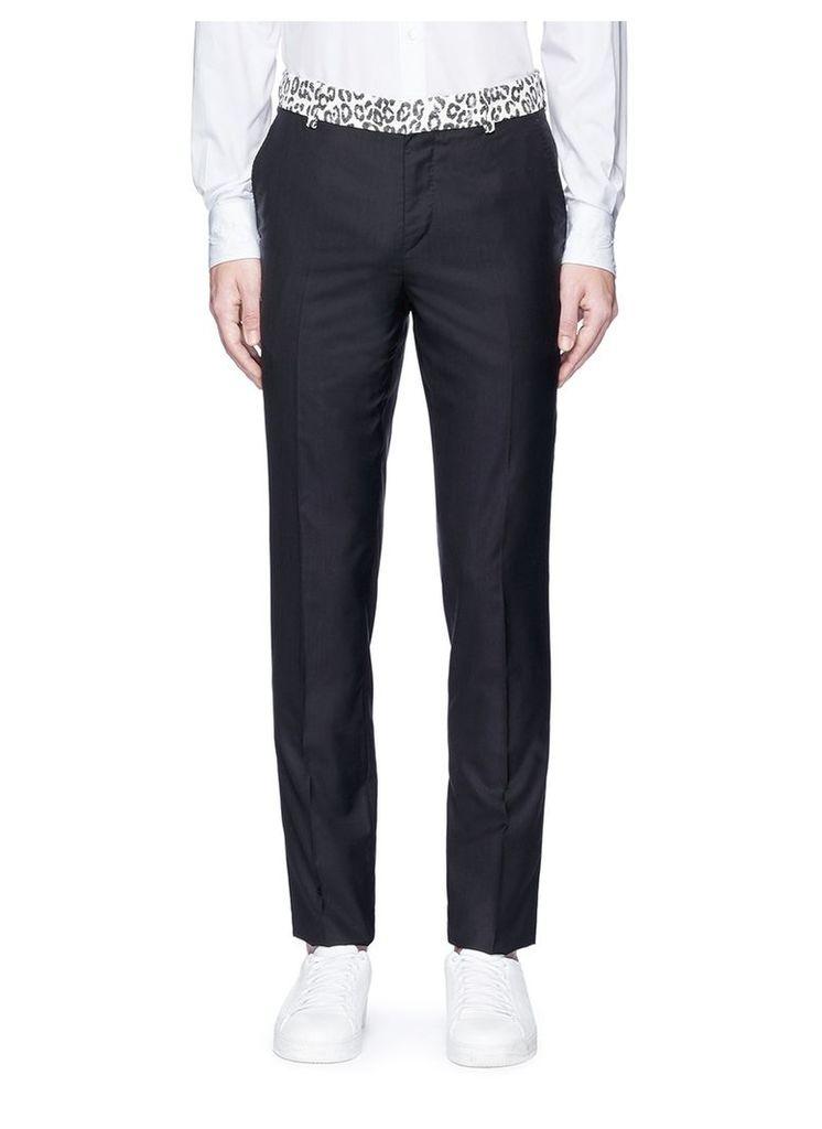 Leopard print waist wool-silk pants