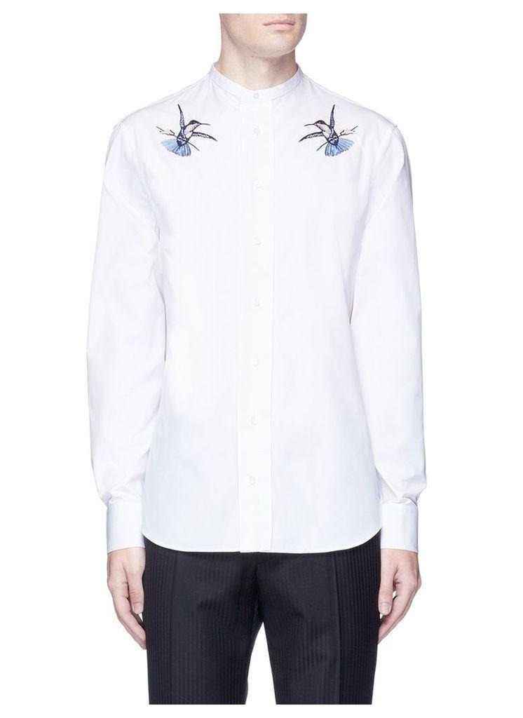 Hummingbird embroidered poplin shirt