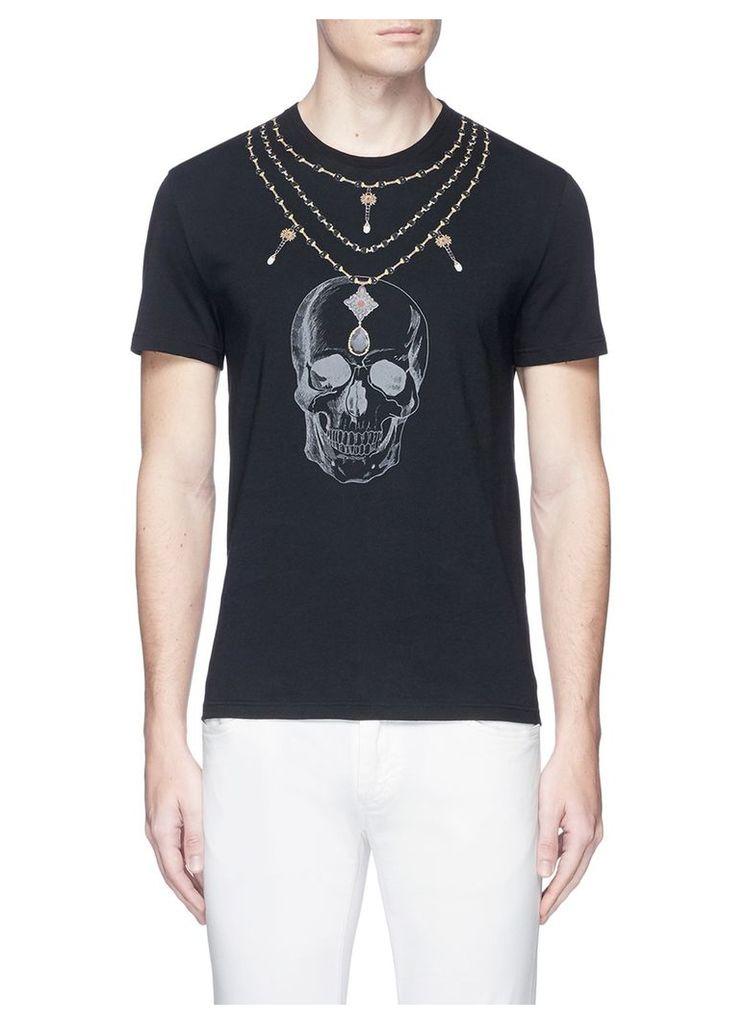 Skull necklace print organic cotton T-shirt
