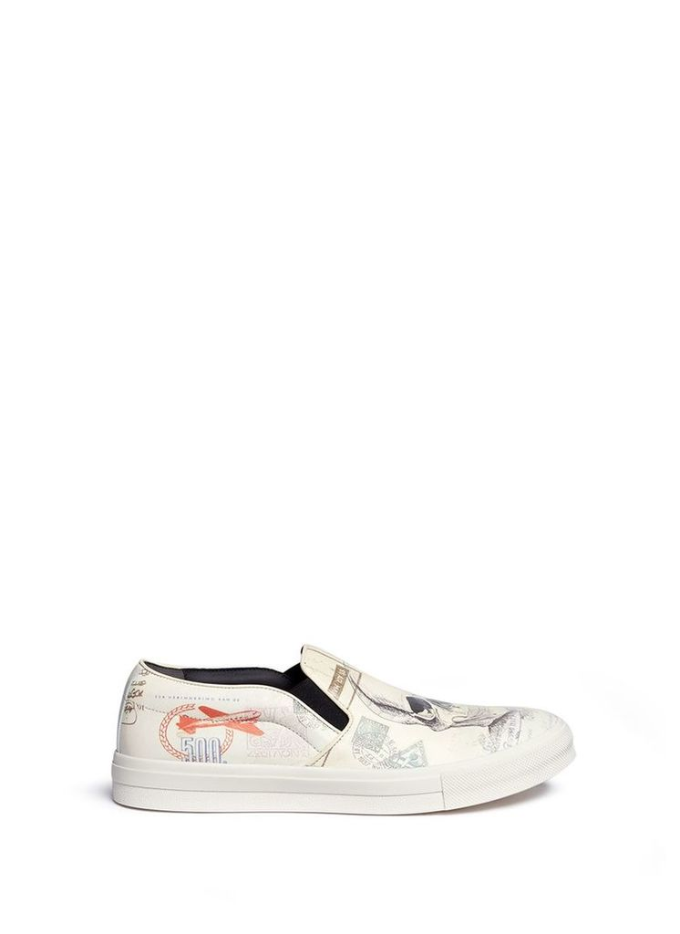 'Letters from India' print leather slip-ons