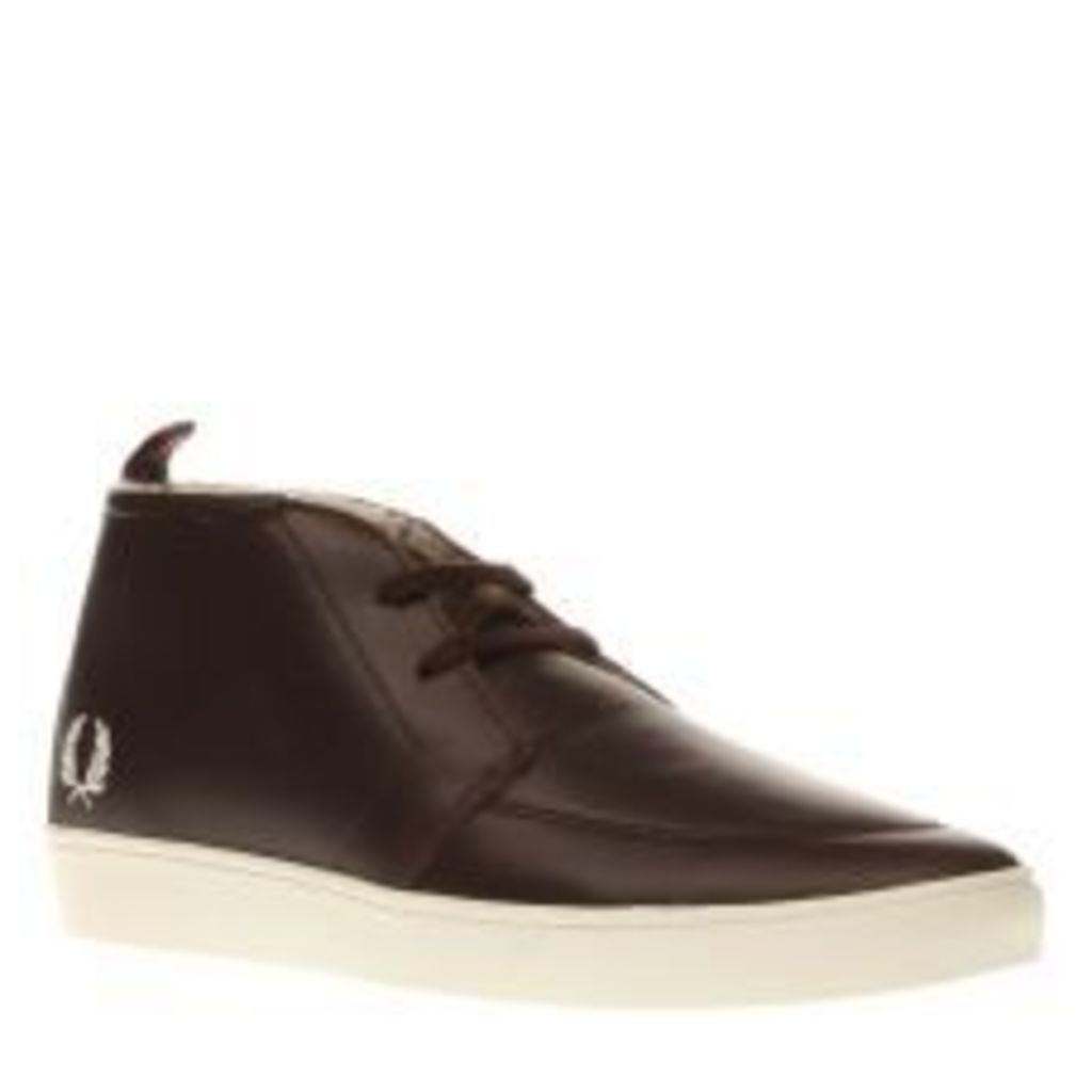 Fred Perry Dark Brown Shields Mid Leather Shearling Trainers