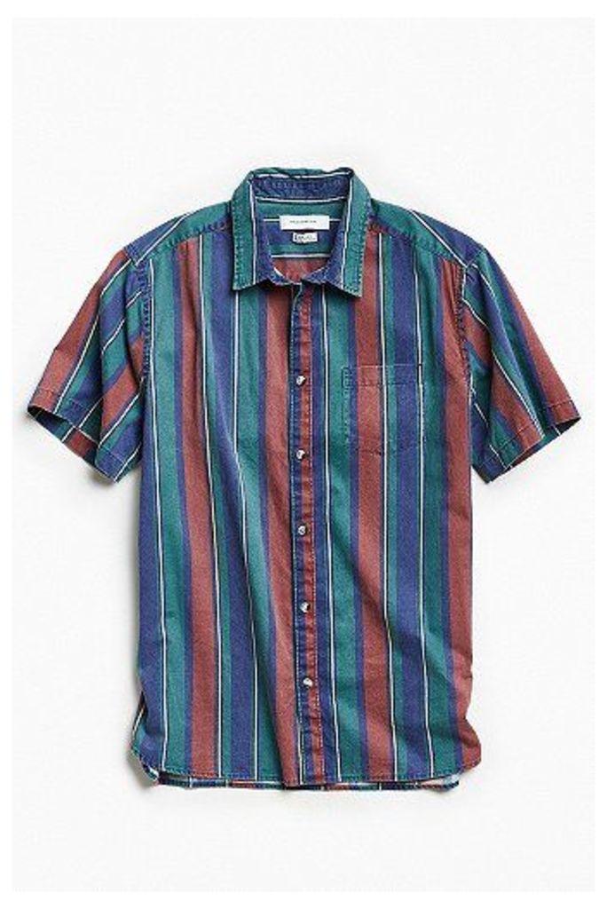 UO '90s Stripe Short Sleeve Button-Down Shirt, Navy