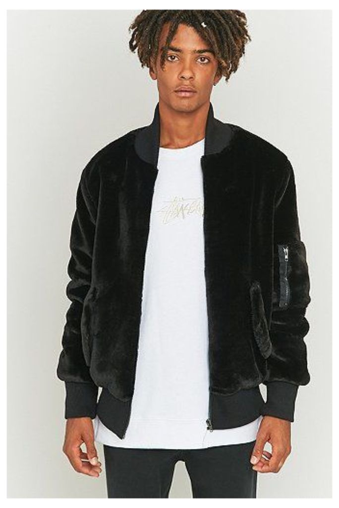 The New County Faux Fur Black Bomber Jacket, Black