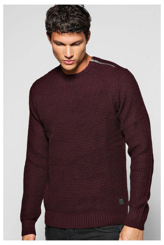 Rib Jumper With Shoulder Zip - burgundy