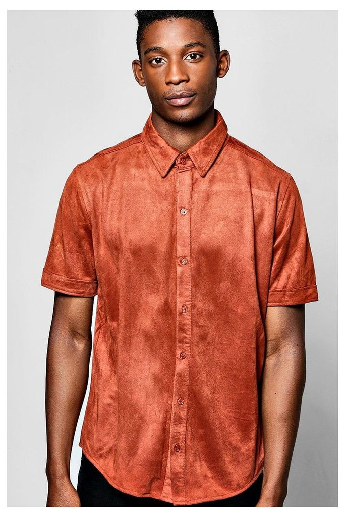 Sleeve Faux Suede Shirt - rust