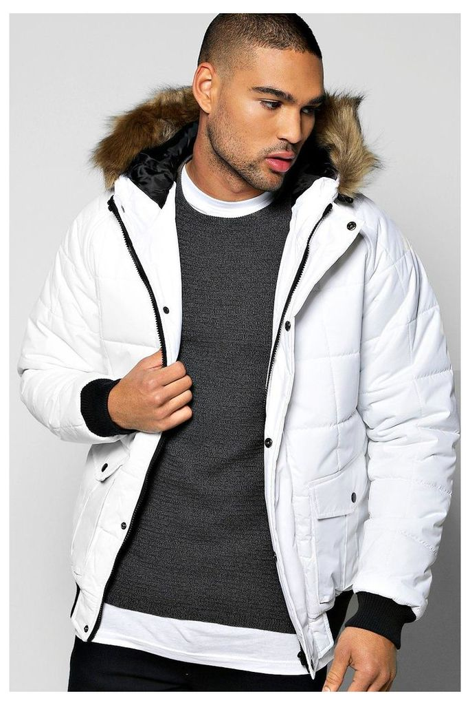 Zip Through Parka With Faux Fur Hood - white