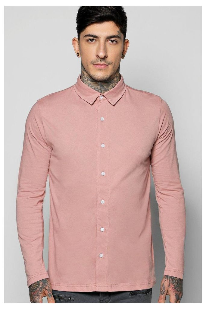 Through Long Sleeve Jersey Shirt - pink
