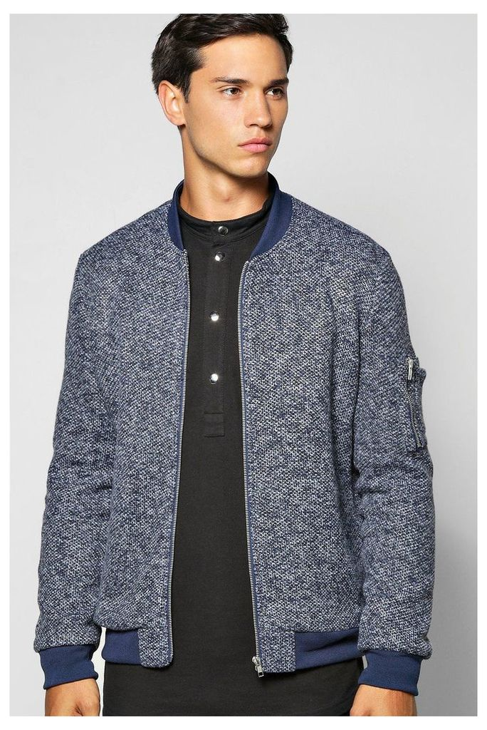 Flecked MA1 Bomber With Sleeve Zip - navy