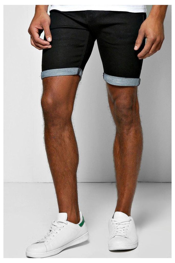 Fit Denim Shorts With Turn Up - black