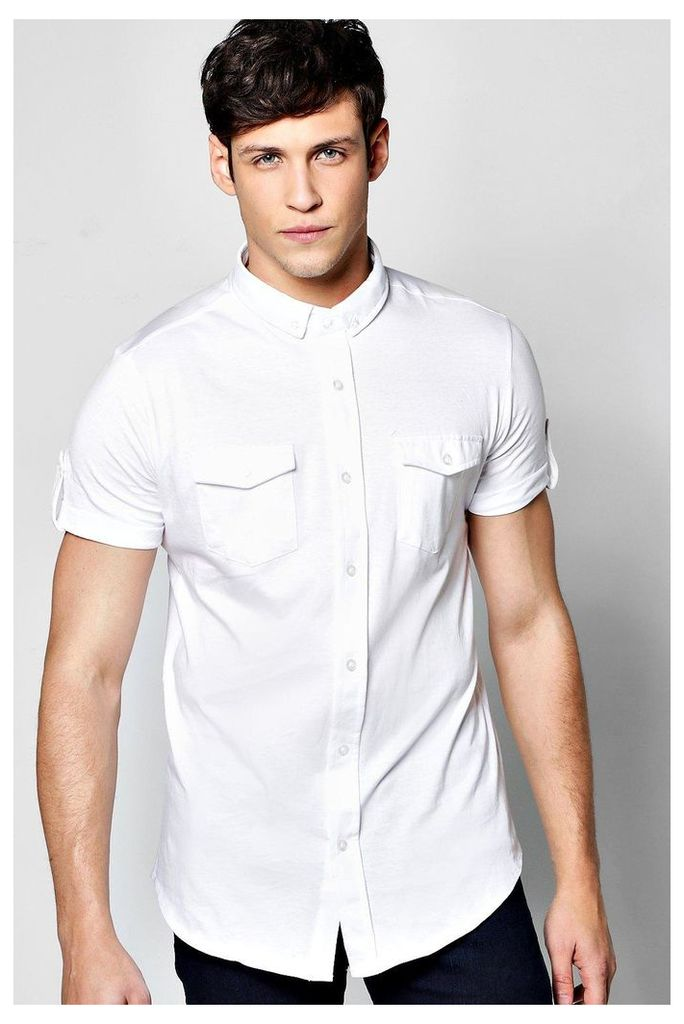 Sleeve Jersey Shirt - white
