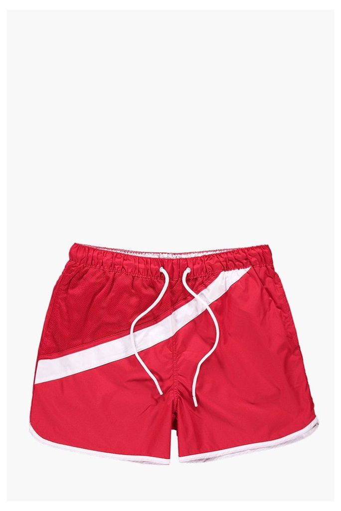Stripe Runner Style Swim Shorts - red