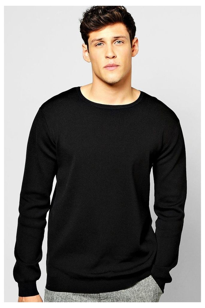 Neck Ribbed Jumper - black