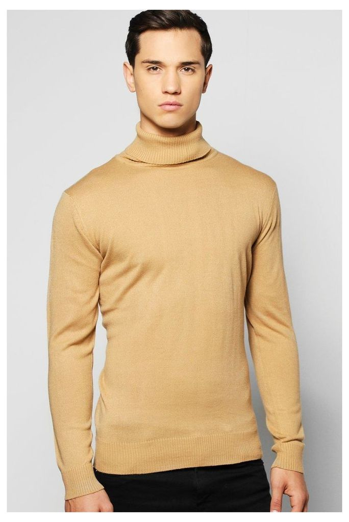 Gauge Knitted Roll Neck Jumper - camel
