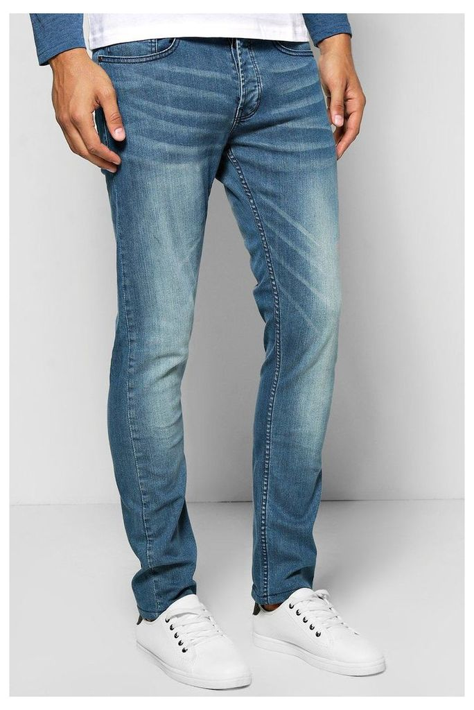 Fit Light Blue Sandblasted Jeans - blue