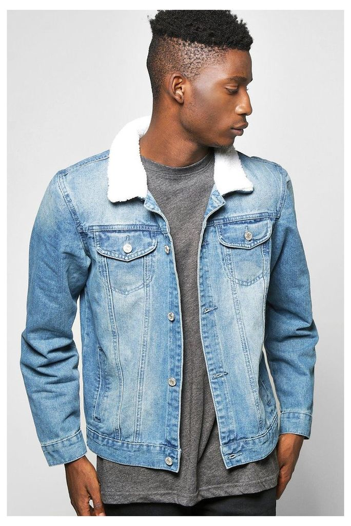 Collar Denim Jacket - blue