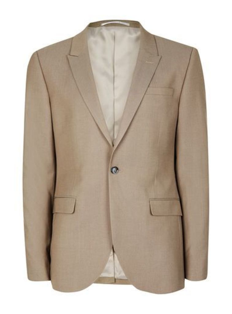Mens Mid Grey Light Taupe Twill Skinny Fit Suit Jacket, Mid Grey