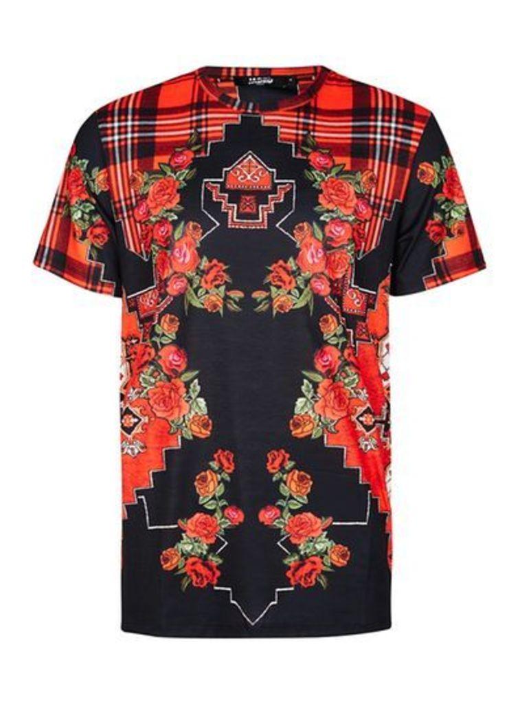 Mens Multi JADED Red and Black Tartan Rose Print T-Shirt*, Multi