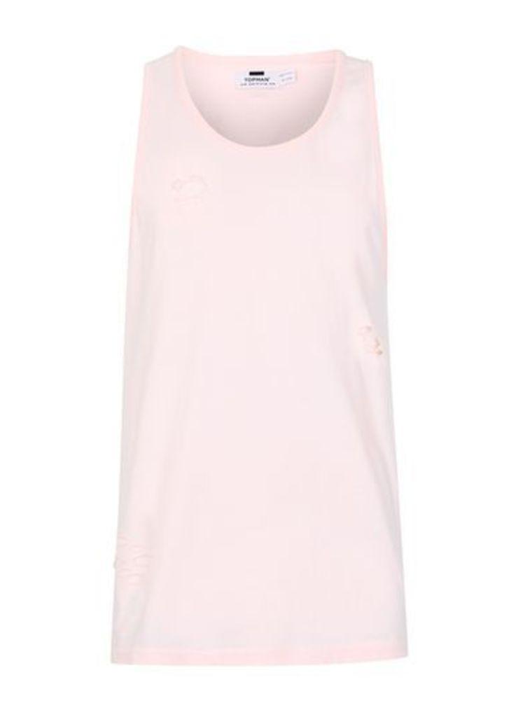 Mens Pink Distressed Vest, Pink
