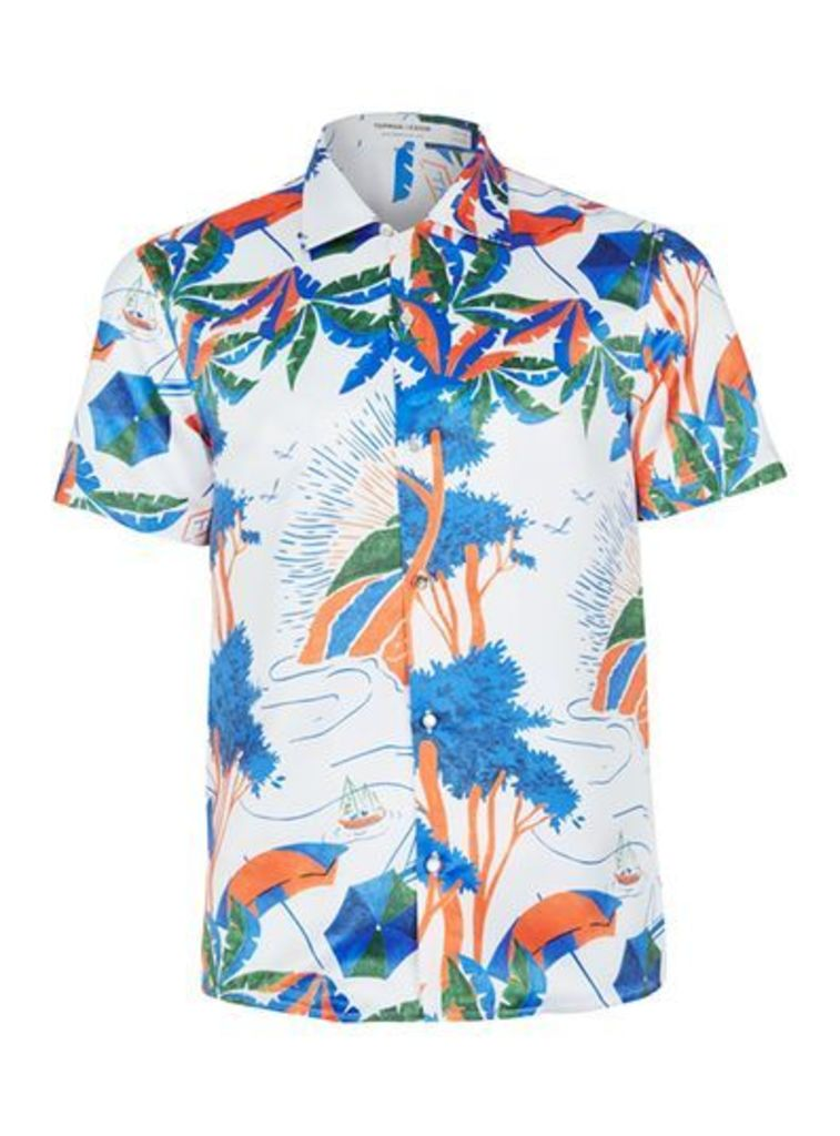 Mens Multi TOPMAN DESIGN White Needles Print Shirt, Multi