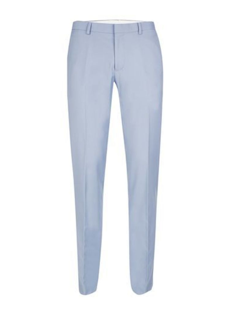 Mens Dusty Blue Twill Skinny Fit Suit Trousers, Blue