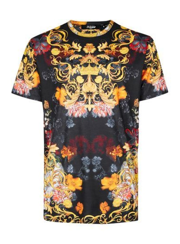 Mens Multi JADED Navy and Yellow Baroque Floral Print T-Shirt*, Multi
