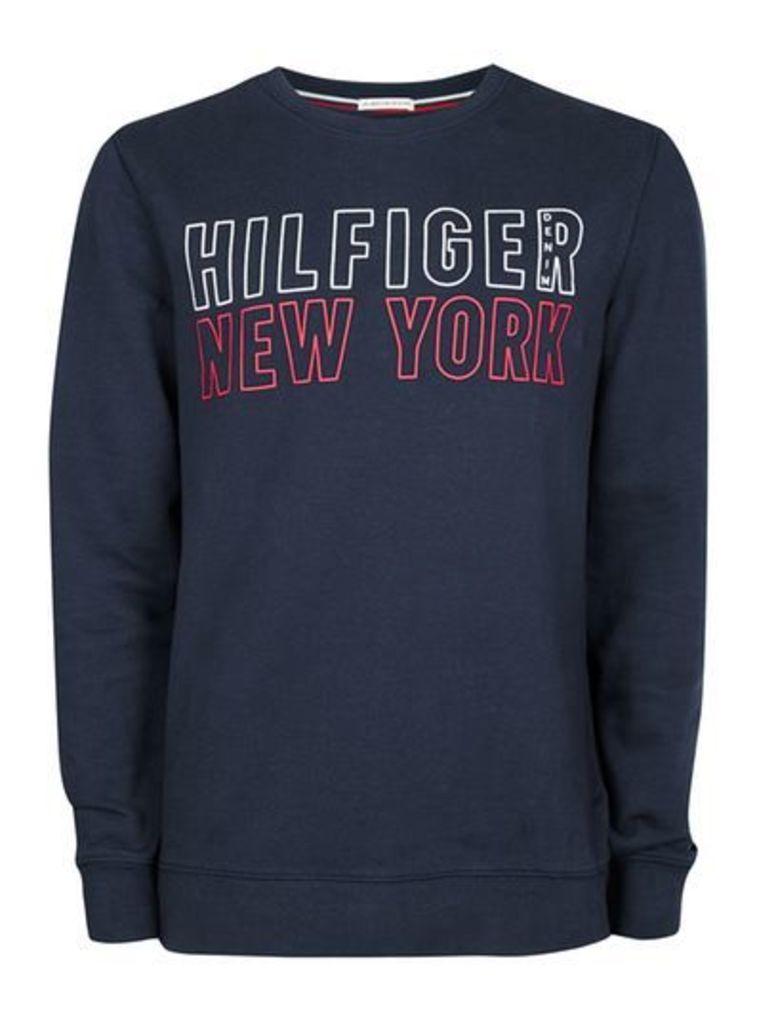 Mens HILFIGER DENIM Blue Logo Sweatshirt, Blue