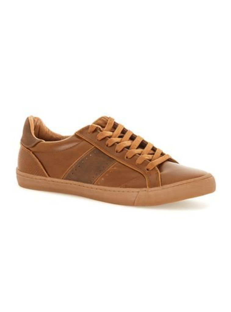 Mens Brown Tan Faux Leather Trainers, Brown