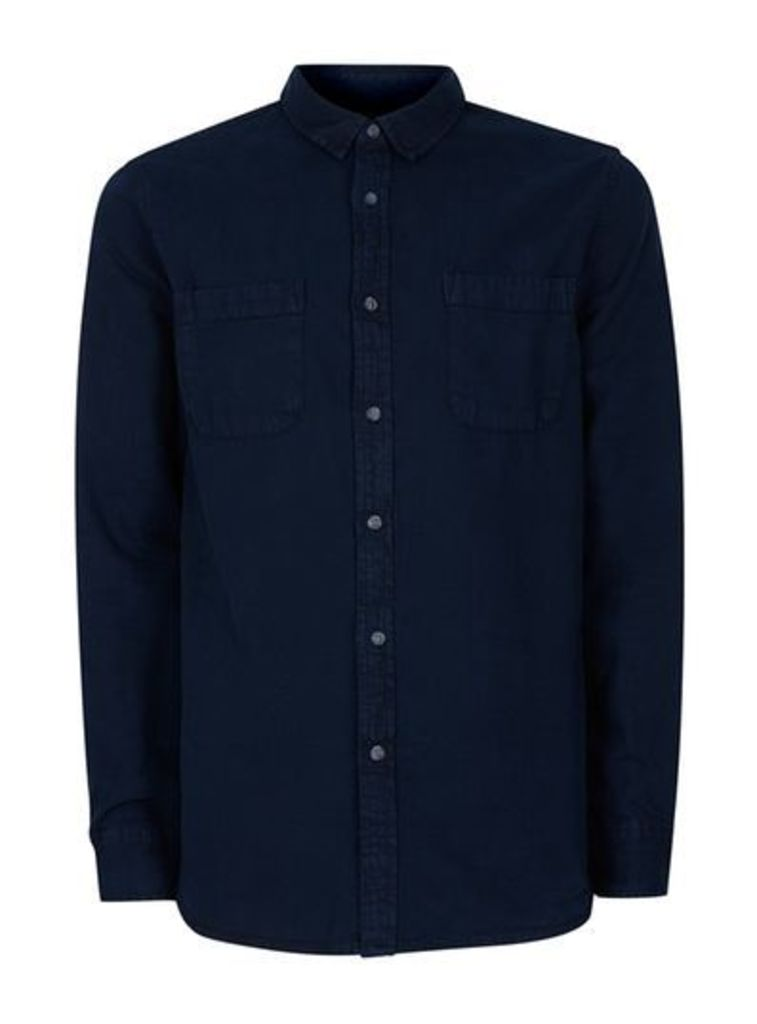 Mens Blue Navy Washed Twill Casual Shirt, Blue
