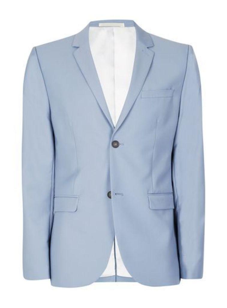 Mens Dusty Blue Twill Skinny Fit Suit Jacket, Blue