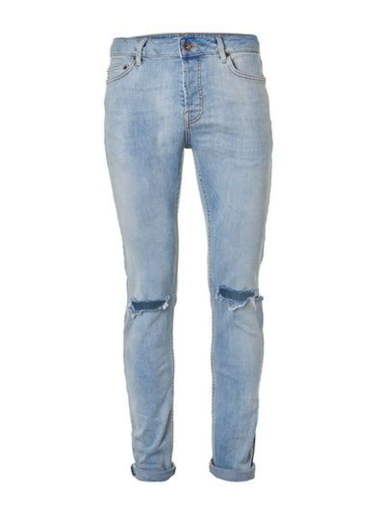 Mens Light Wash Blue Ripped Stretch Skinny Jeans, Blue