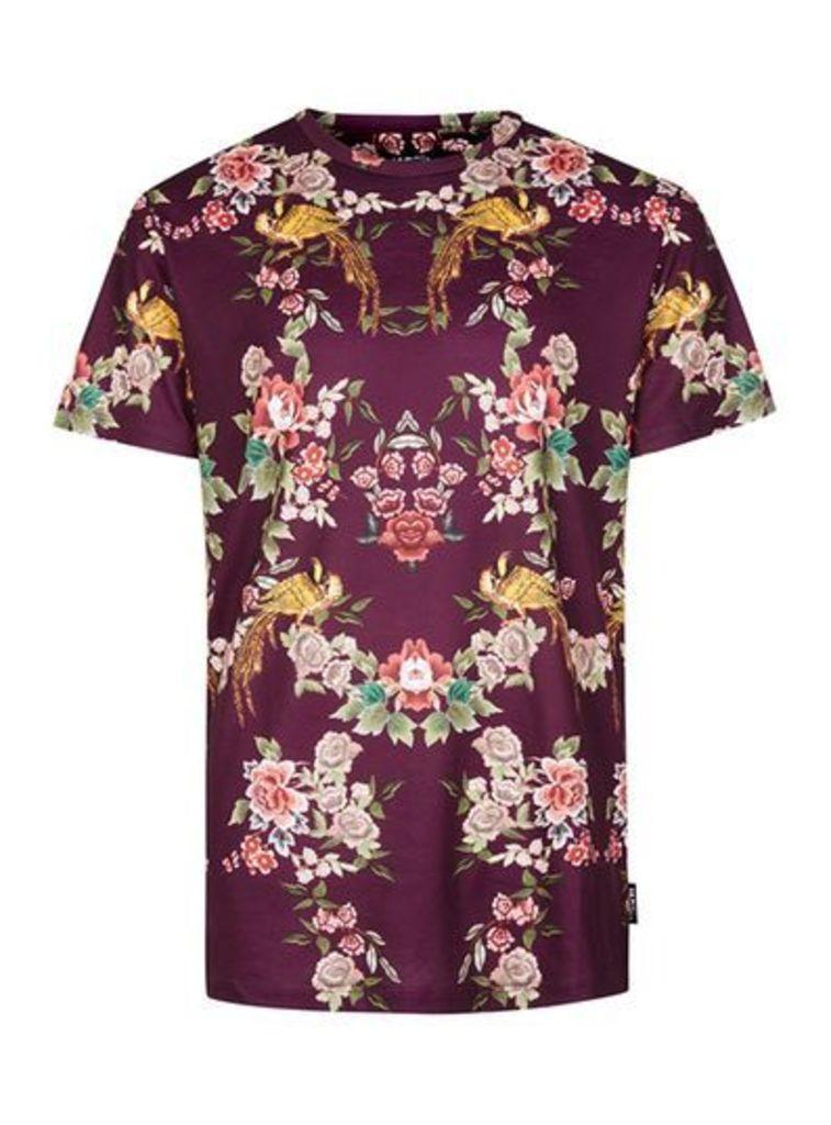 Mens Multi JADED Burgundy Floral Bird Print T-Shirt*, Multi