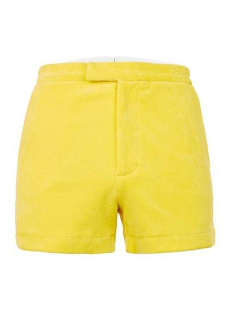Mens TOPMAN DESIGN Yellow Towelling Shorts, Yellow
